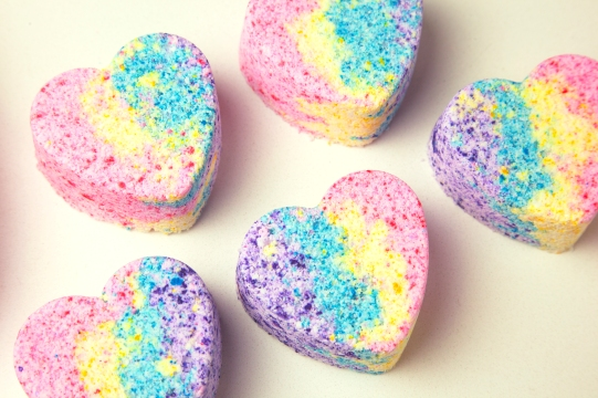 rainbow heart bath bomb blog 2